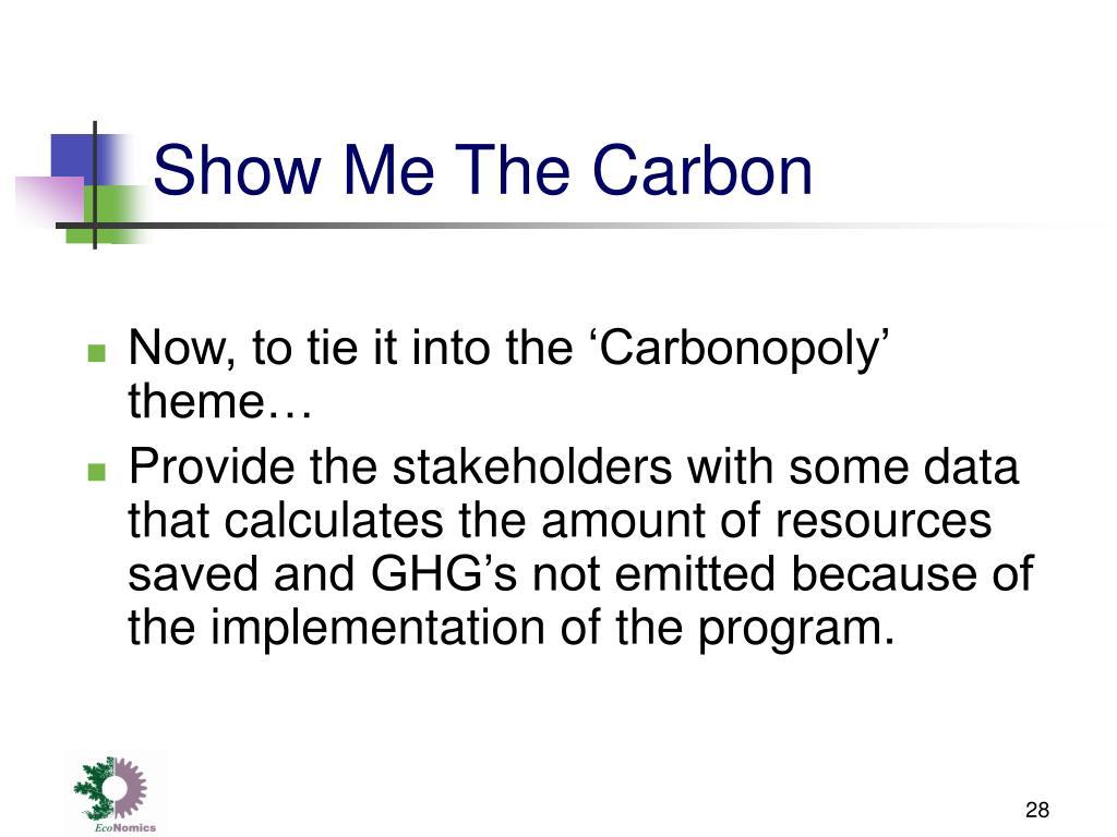 Show Me The Carbon