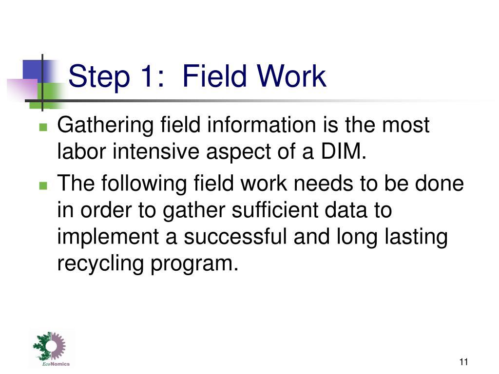 Step 1:  Field Work