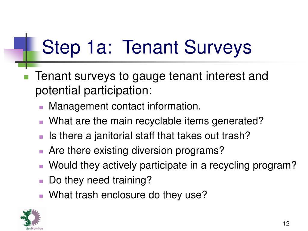 Step 1a:  Tenant Surveys