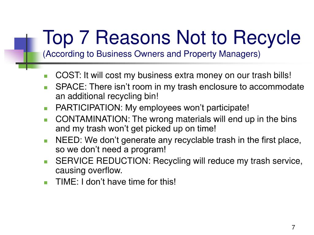 Top 7 Reasons Not to Recycle