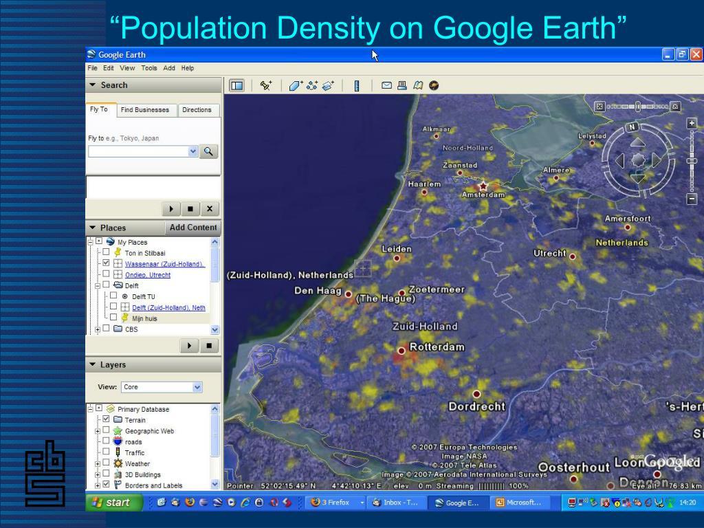 """Population Density on Google Earth"""