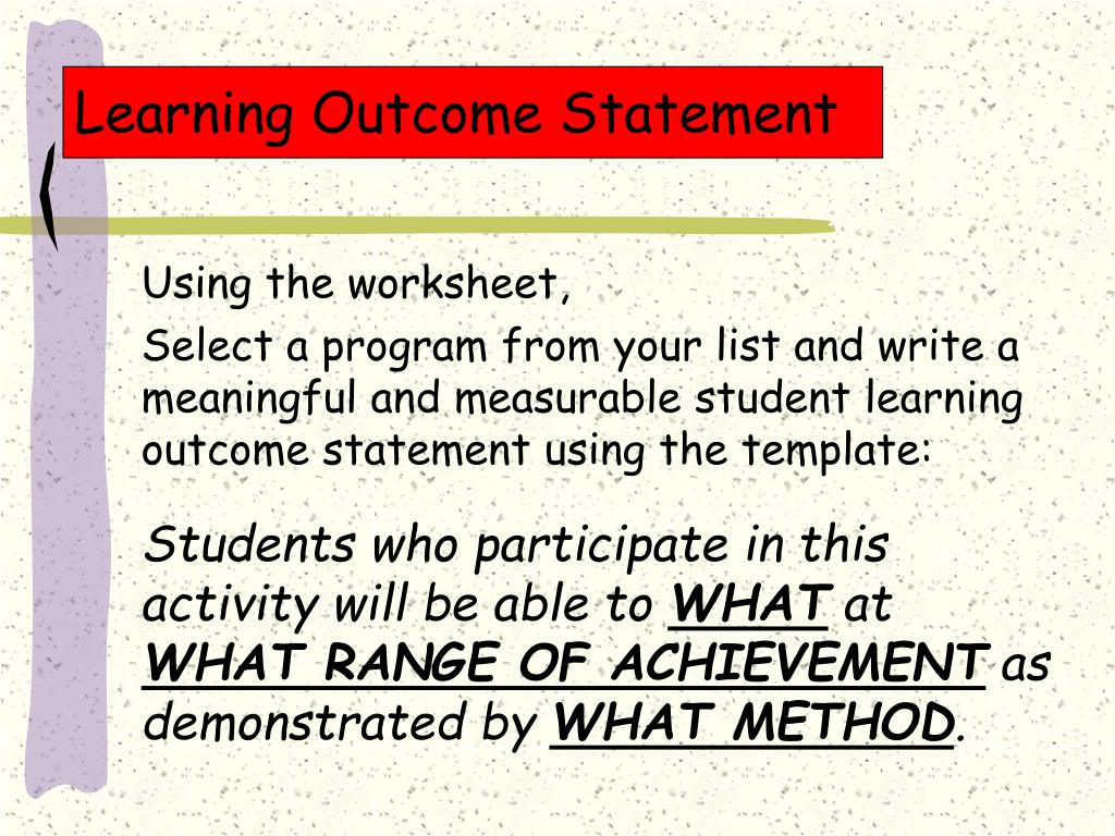 Learning Outcome Statement