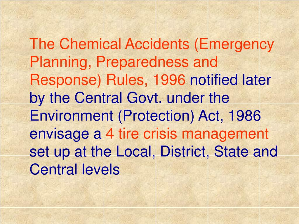 The Chemical Accidents (Emergency Planning, Preparedness and Response) Rules, 1996