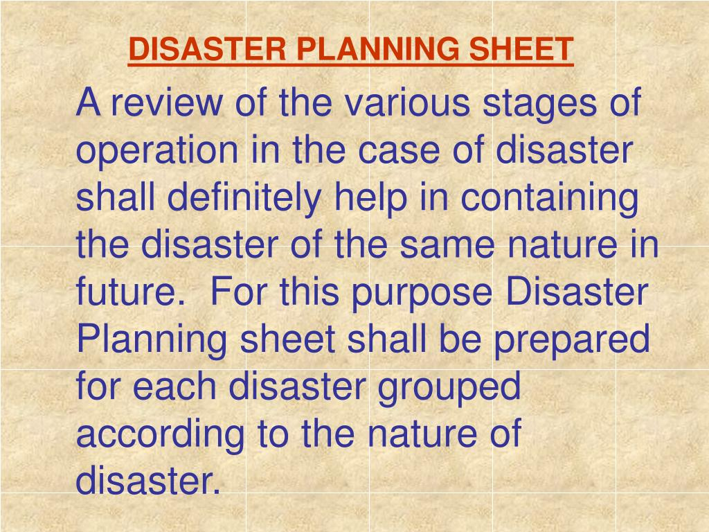 DISASTER PLANNING SHEET