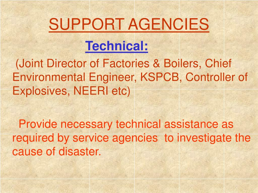 SUPPORT AGENCIES