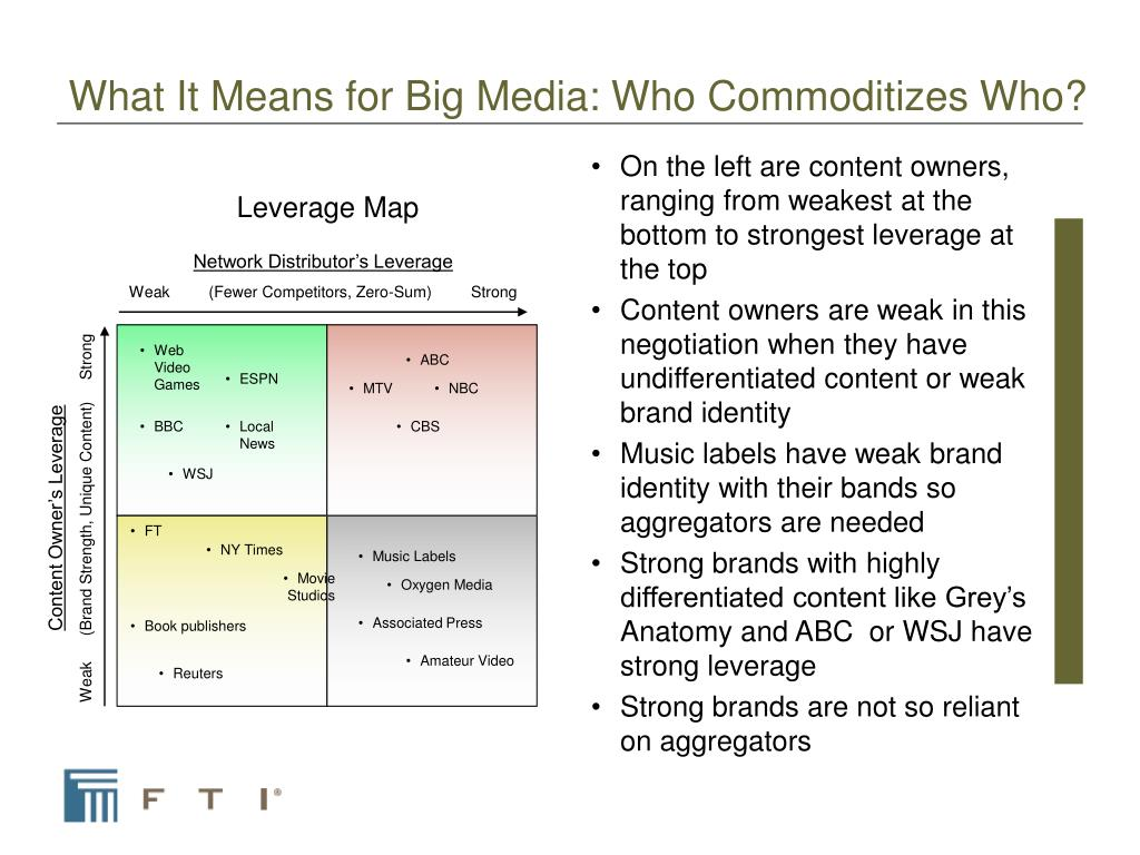 What It Means for Big Media: Who Commoditizes Who?