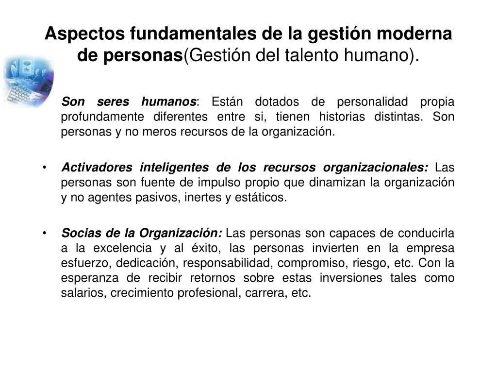 Aspectos fundamentales de la gestión moderna de personas