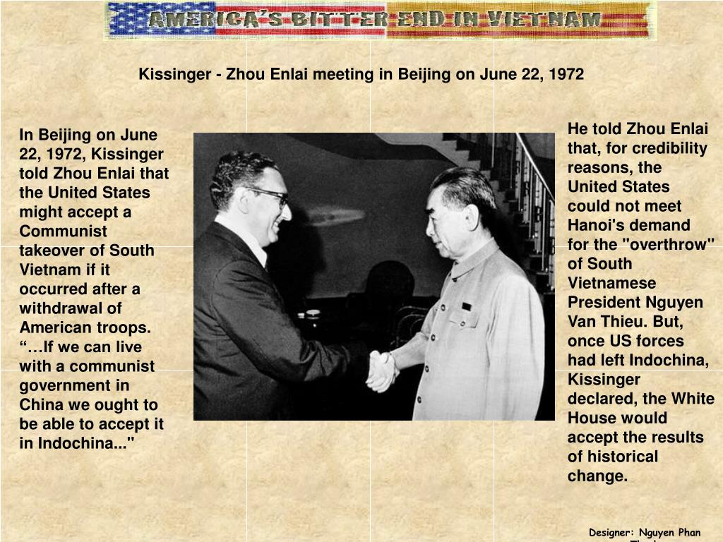 Kissinger - Zhou Enlai meeting in Beijing on June 22, 1972