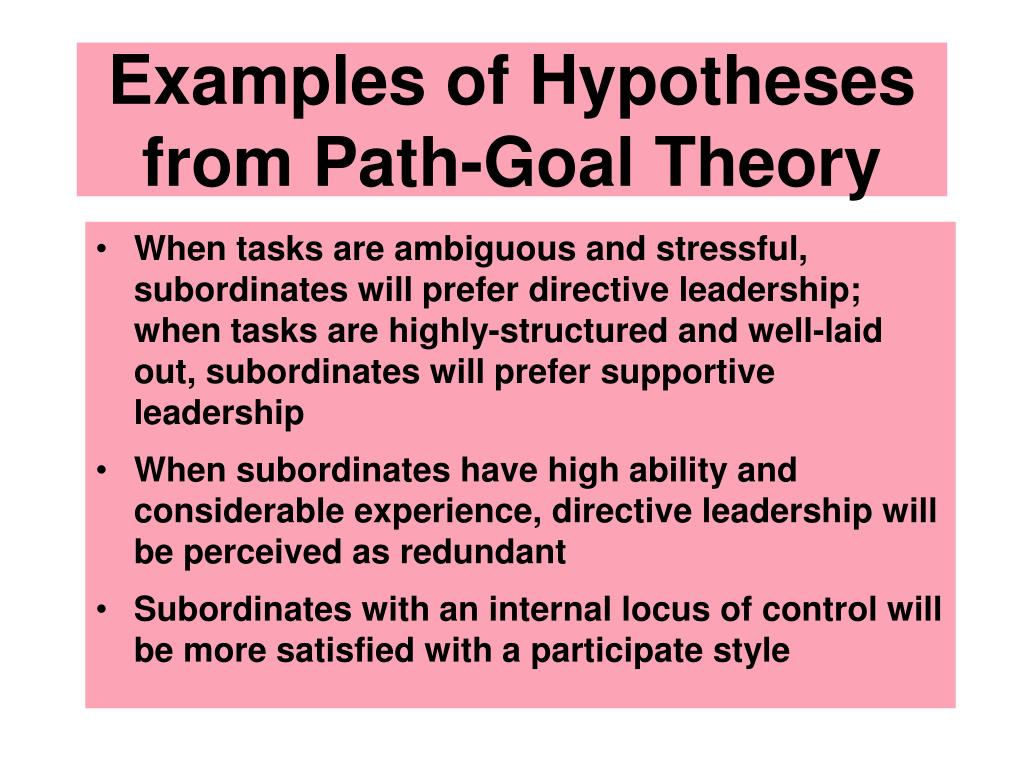 Examples of Hypotheses from Path-Goal Theory