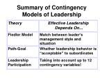 summary of contingency models of leadership