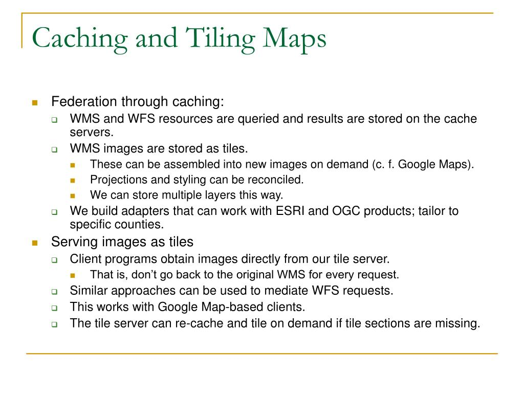 Caching and Tiling Maps