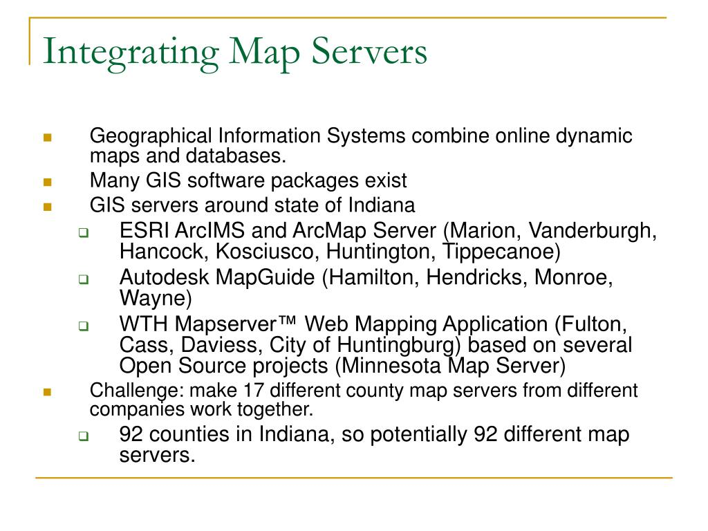 Integrating Map Servers
