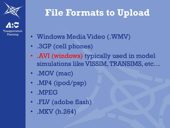 File formats to upload