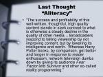 last thought aliteracy