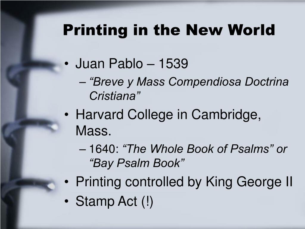 Printing in the New World