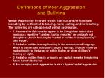definitions of peer aggression and bullying