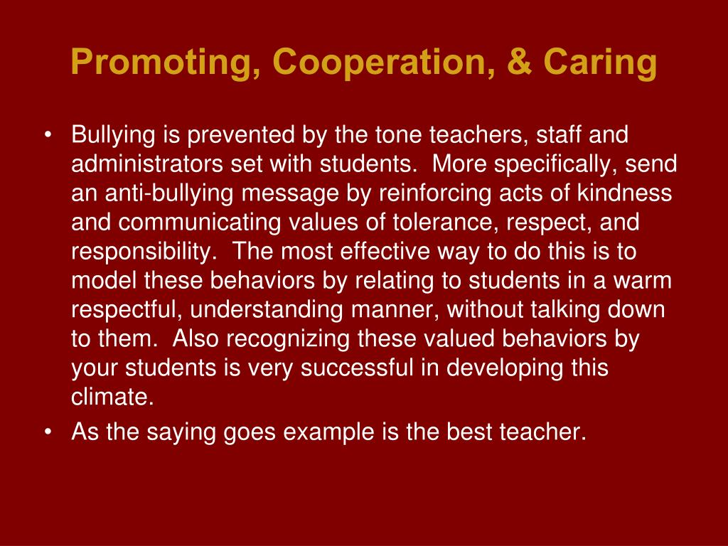 Promoting, Cooperation, & Caring