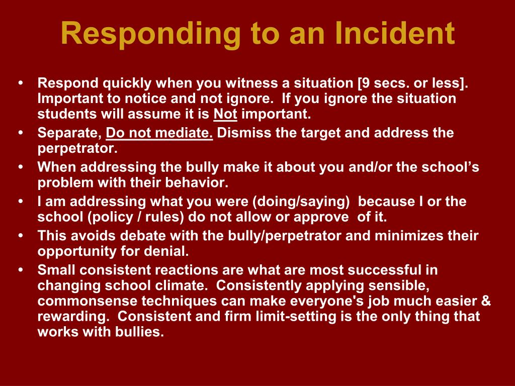 Responding to an Incident