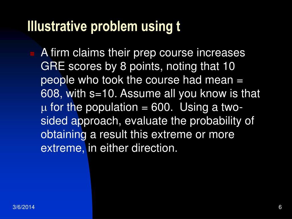 Illustrative problem using t