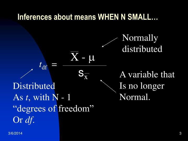 Inferences about means when n small