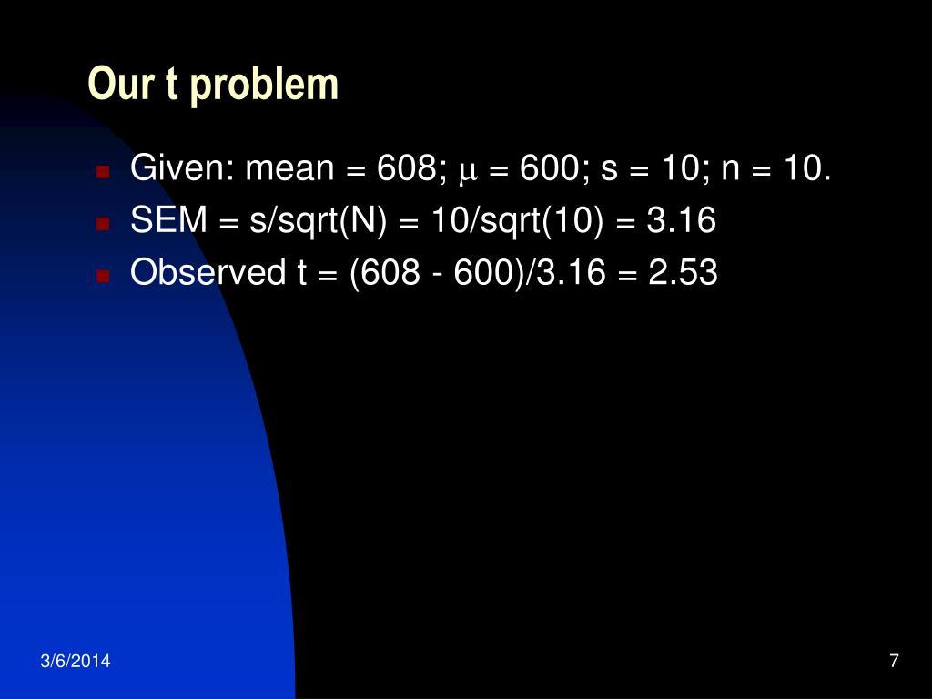 Our t problem