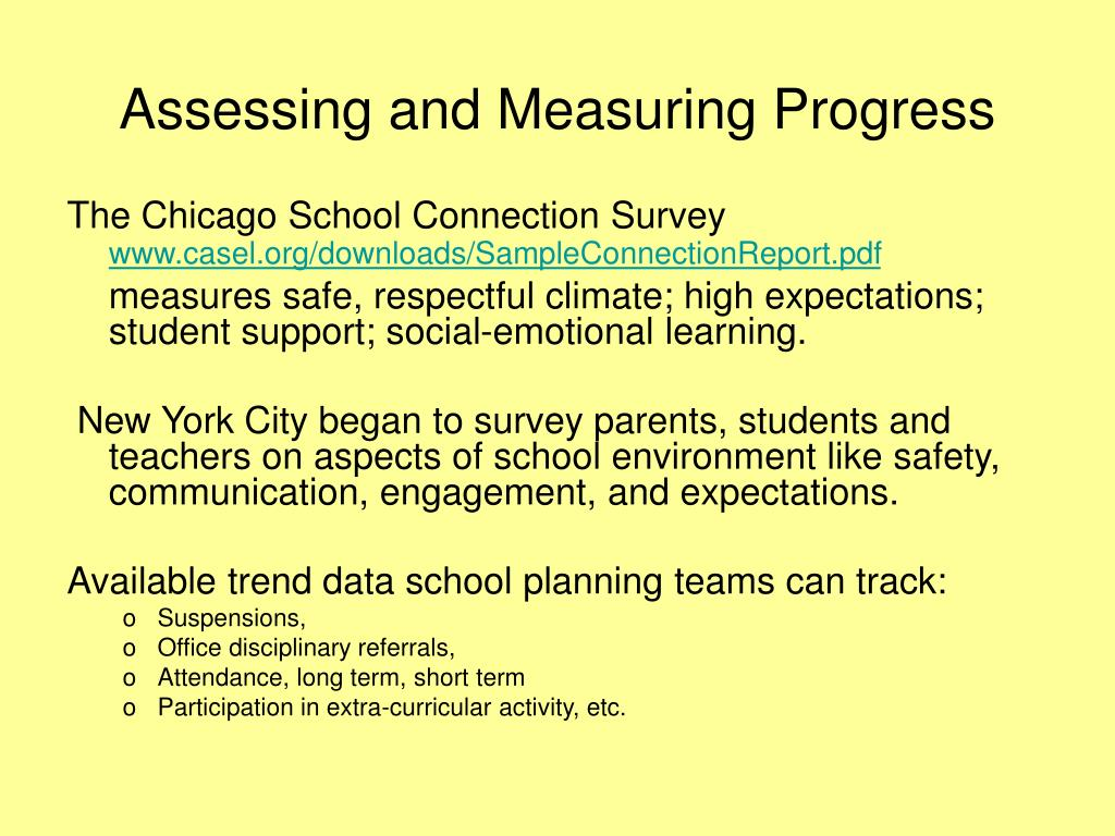 Assessing and Measuring Progress