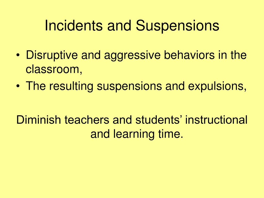 Incidents and Suspensions