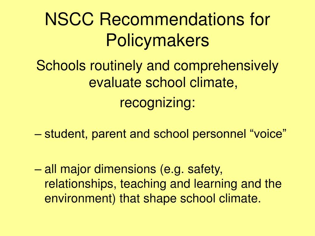 NSCC Recommendations for Policymakers