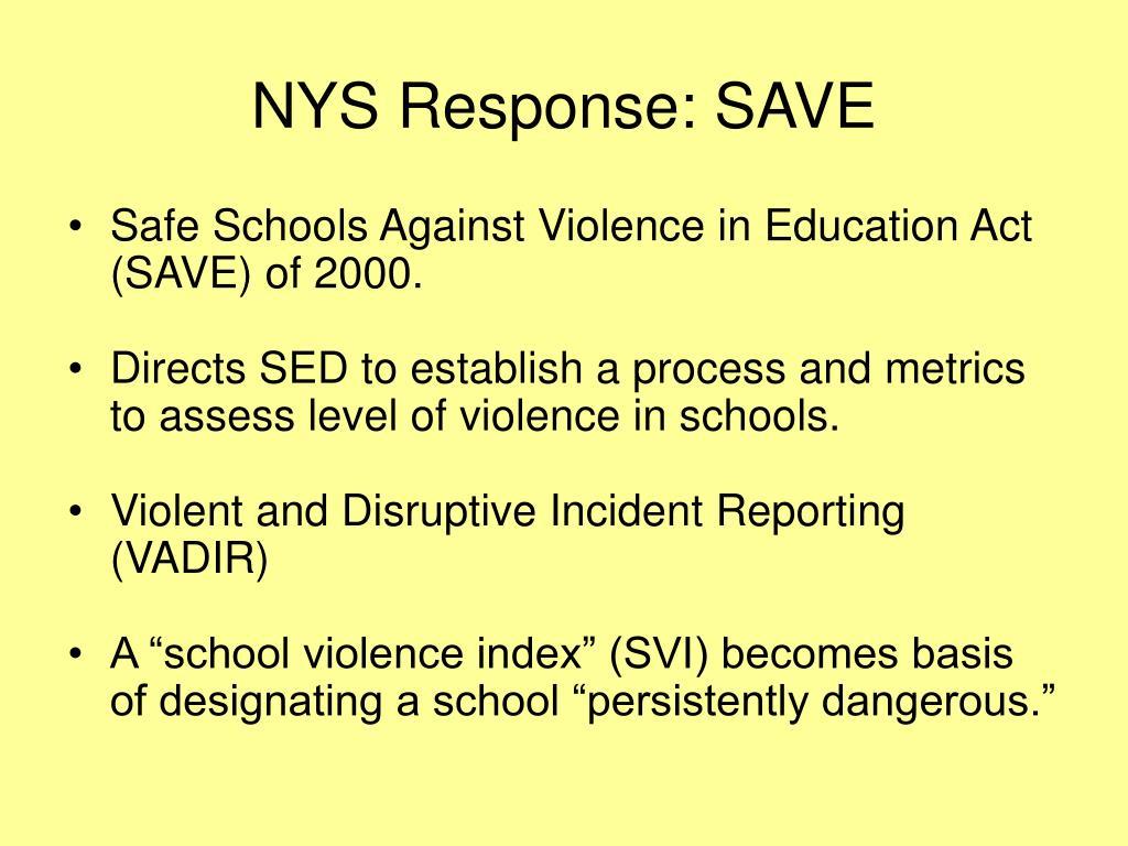 NYS Response: SAVE