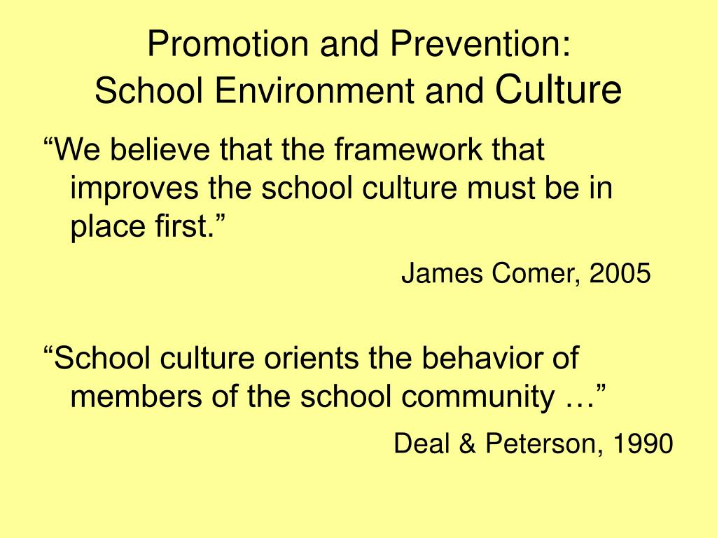 Promotion and Prevention:
