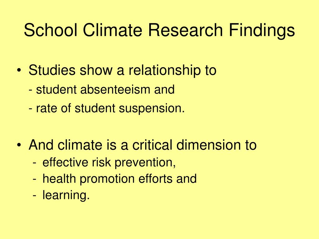 School Climate Research Findings