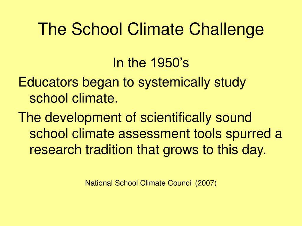 The School Climate Challenge