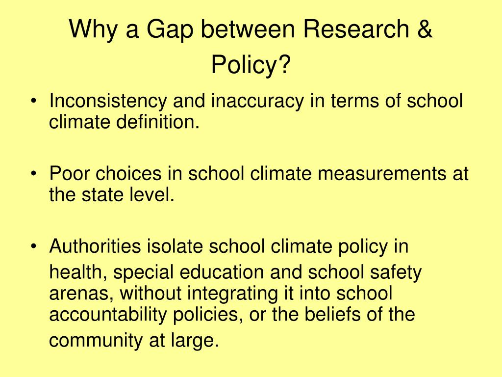 Why a Gap between Research & Policy?