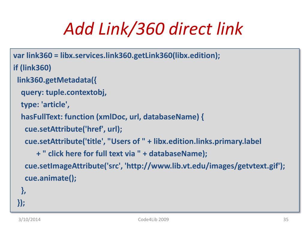 Add Link/360 direct link