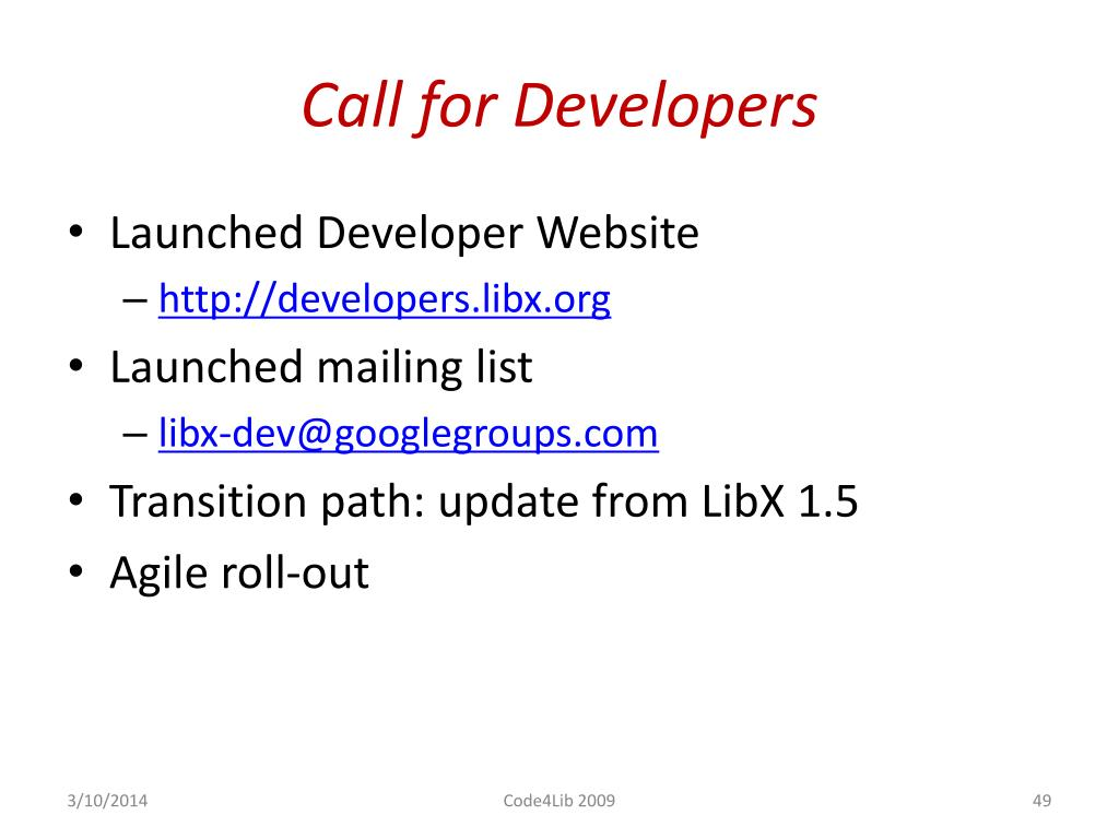 Call for Developers