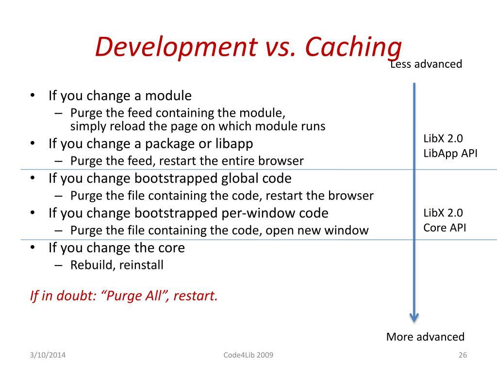 Development vs. Caching