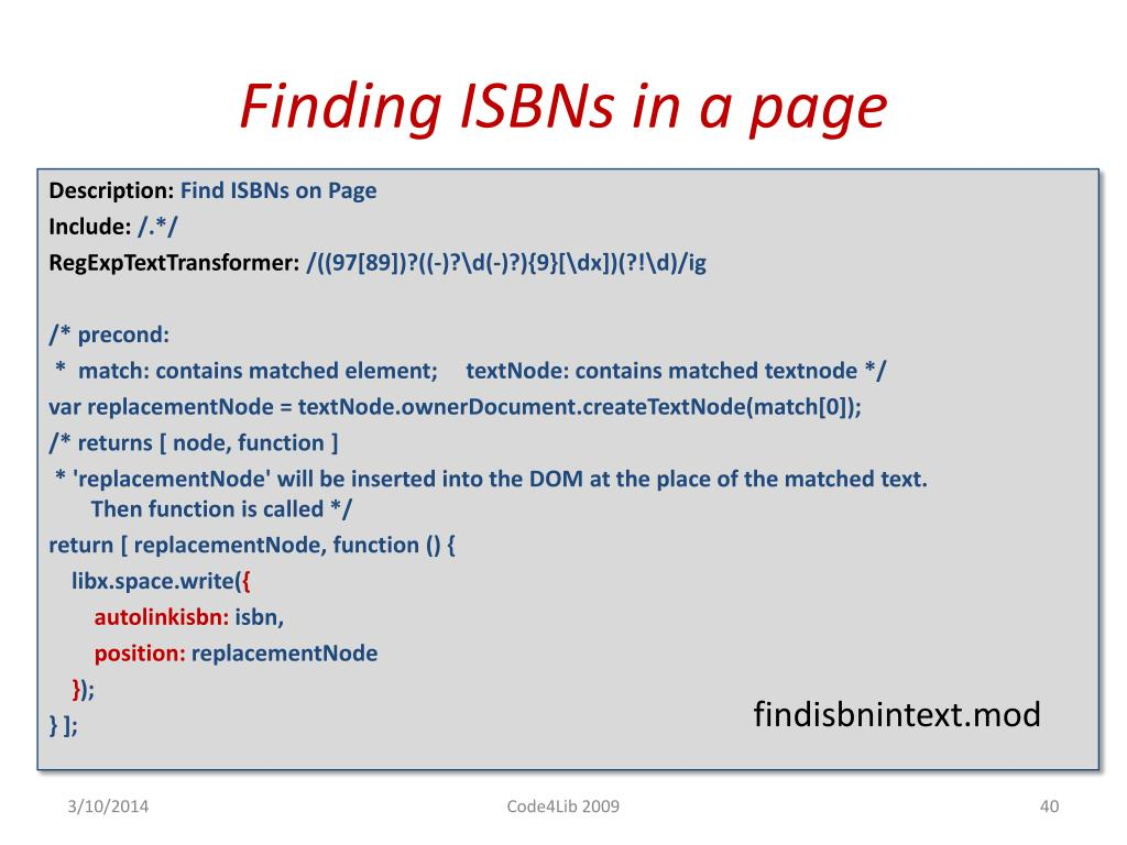 Finding ISBNs in a page