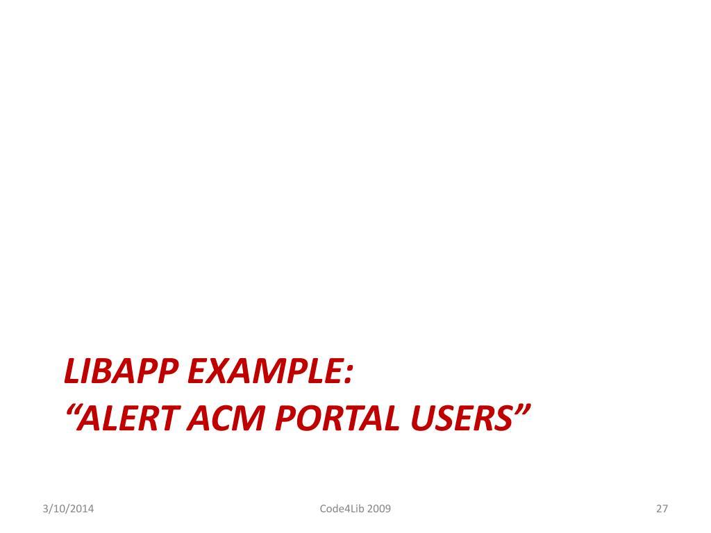 LIBAPP EXAMPLE: