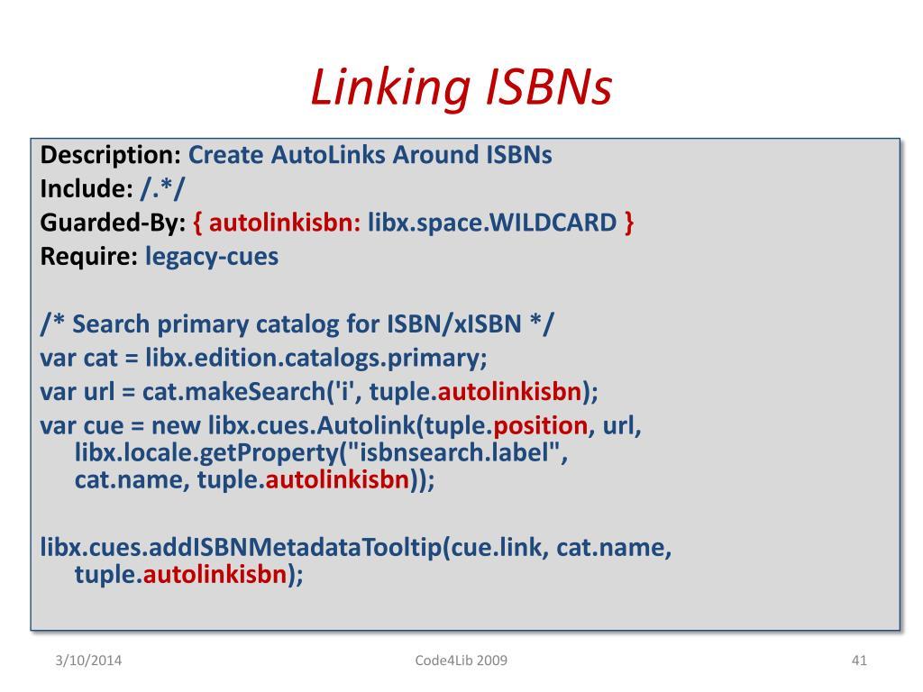 Linking ISBNs