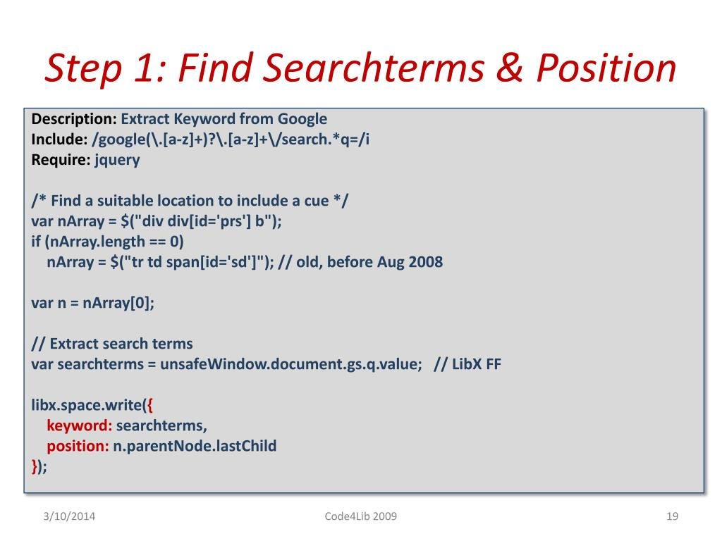 Step 1: Find Searchterms & Position