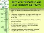 deep vein thrombosis and long distance air travel