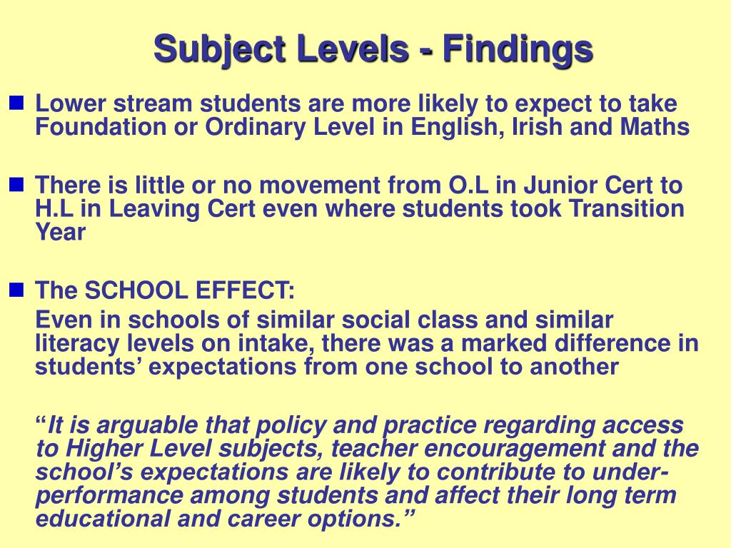 Subject Levels - Findings