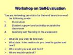 workshop on self evaluation