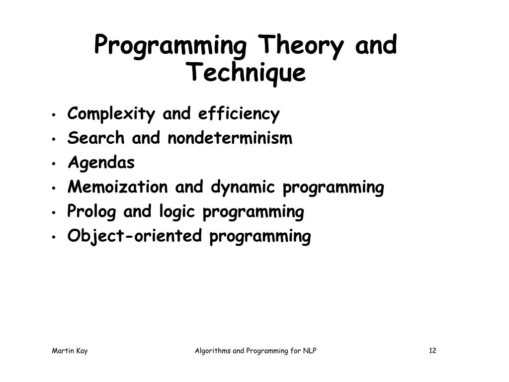 Programming Theory and Technique