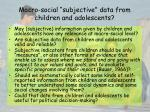 macro social subjective data from children and adolescents