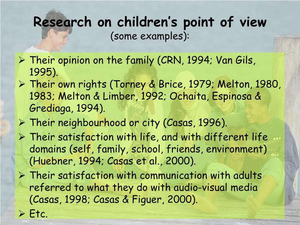 Research on children's point of view