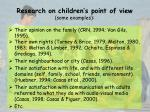 research on children s point of view some examples