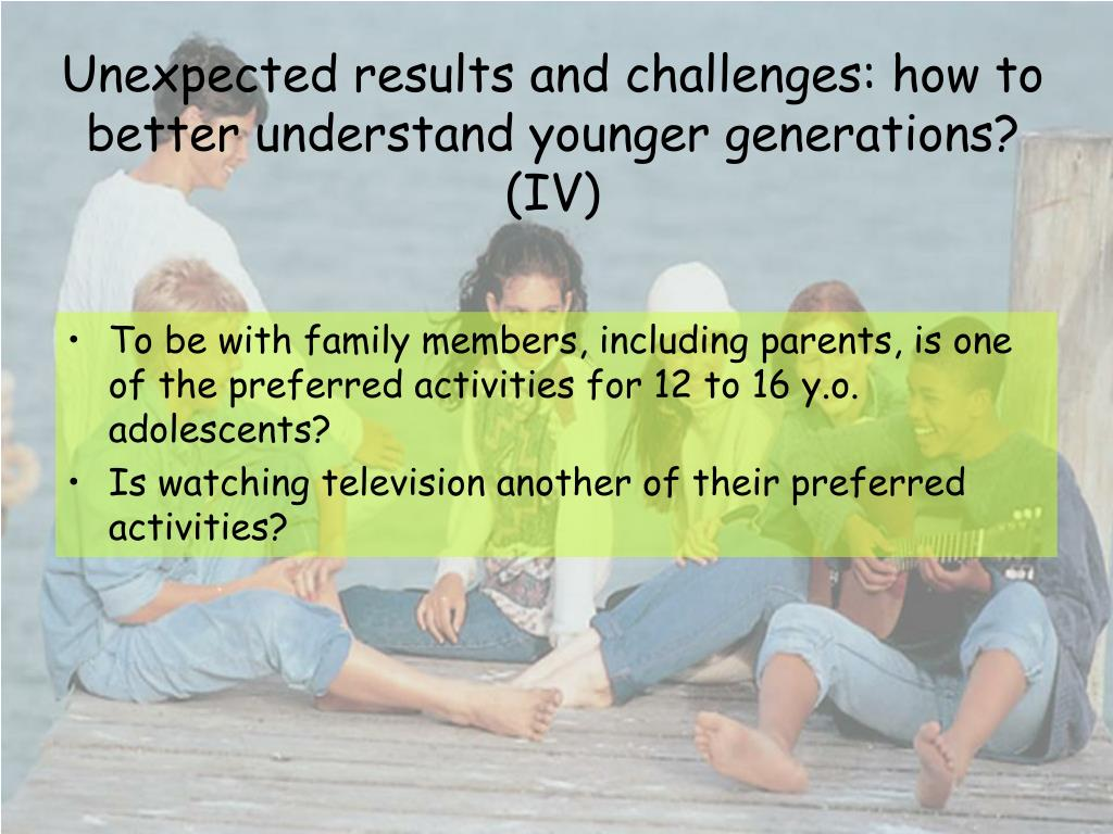 Unexpected results and challenges: how to better understand younger generations? (IV)