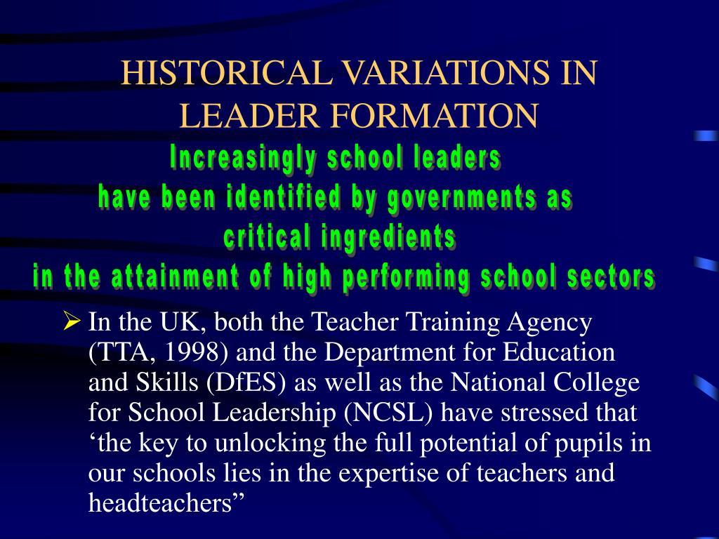HISTORICAL VARIATIONS IN LEADER FORMATION