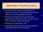 implications for policy makers